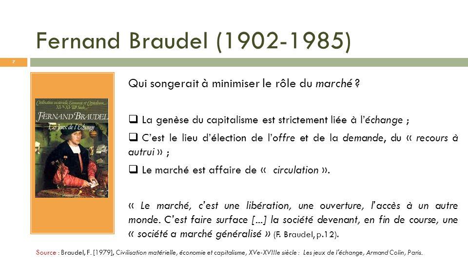 Fernand Braudel (1902-1985) Qui songerait à minimiser le rôle du marché La genèse du capitalisme est strictement liée à l'échange ;