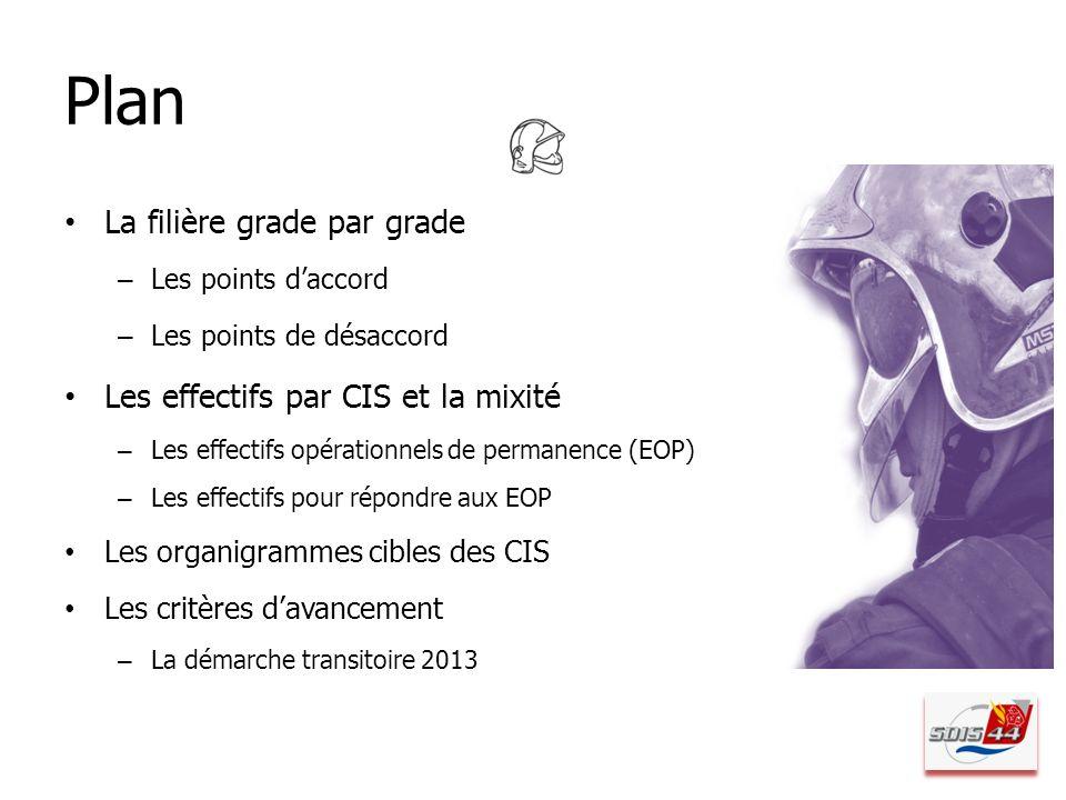 Plan La filière grade par grade Les effectifs par CIS et la mixité