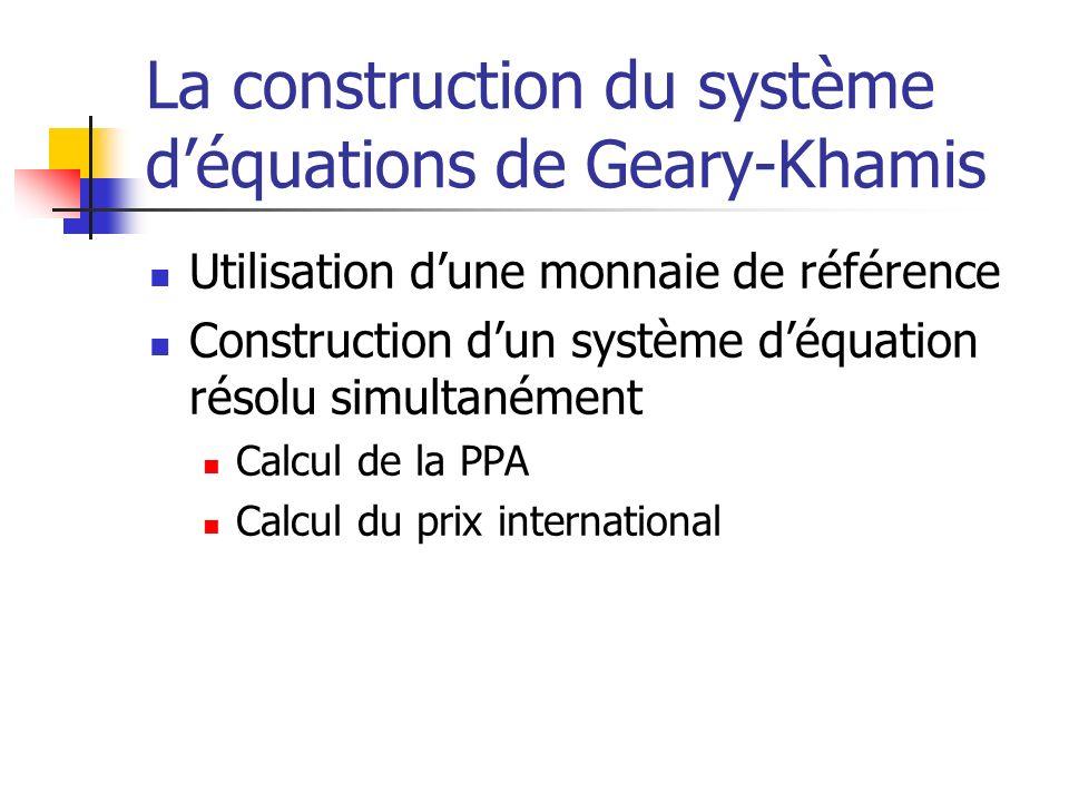 La construction du système d'équations de Geary-Khamis
