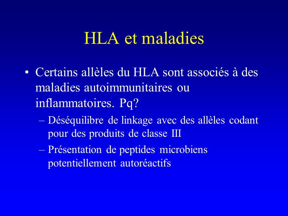 HLA et maladies Certains allèles du HLA sont associés à des maladies autoimmunitaires ou inflammatoires. Pq