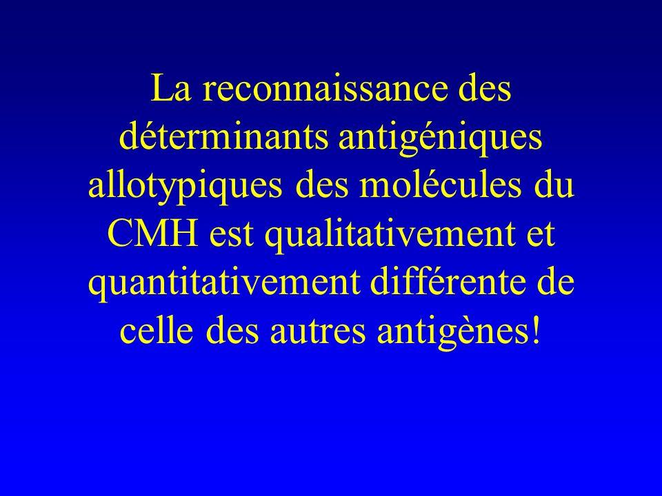 La reconnaissance des déterminants antigéniques allotypiques des molécules du CMH est qualitativement et quantitativement différente de celle des autres antigènes!