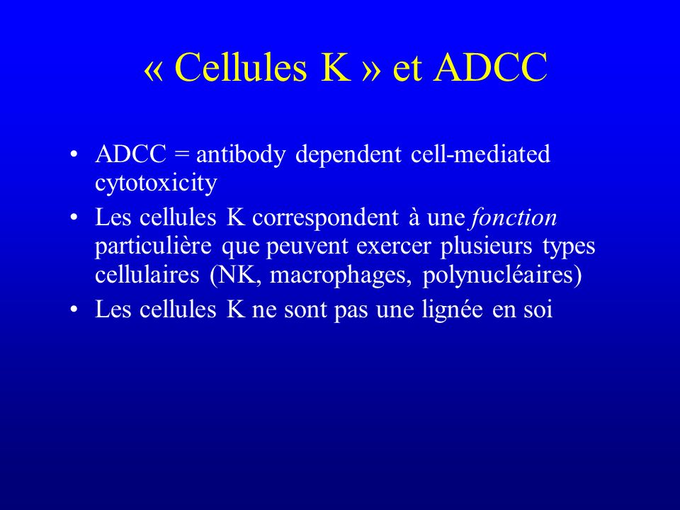 « Cellules K » et ADCC ADCC = antibody dependent cell-mediated cytotoxicity.