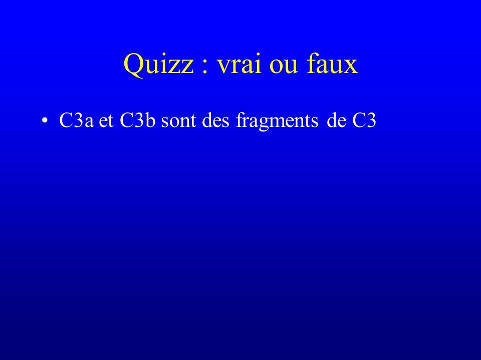 Quizz : vrai ou faux C3a et C3b sont des fragments de C3