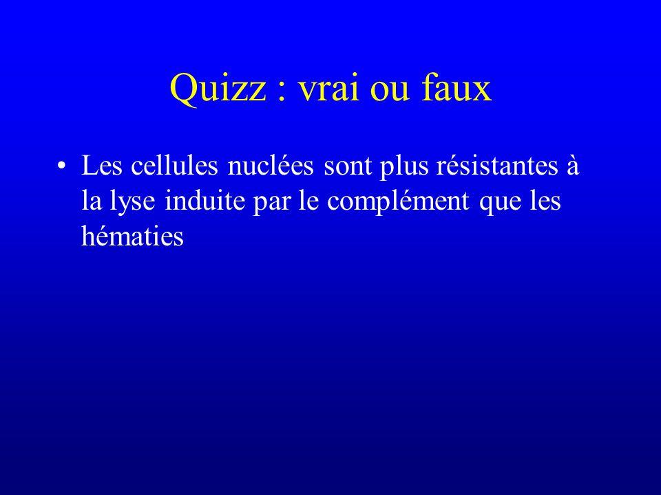 Quizz : vrai ou faux Les cellules nuclées sont plus résistantes à la lyse induite par le complément que les hématies.
