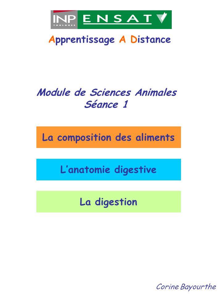 Module de Sciences Animales La composition des aliments