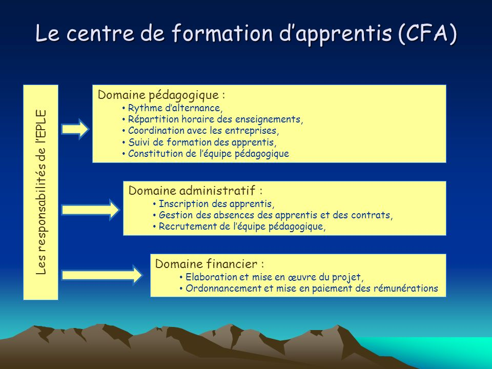 Le centre de formation d'apprentis (CFA)