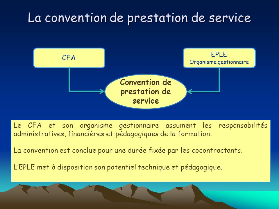 La convention de prestation de service
