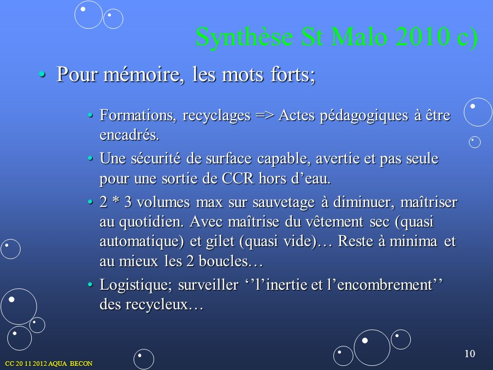Synthèse St Malo 2010 c) Pour mémoire, les mots forts;