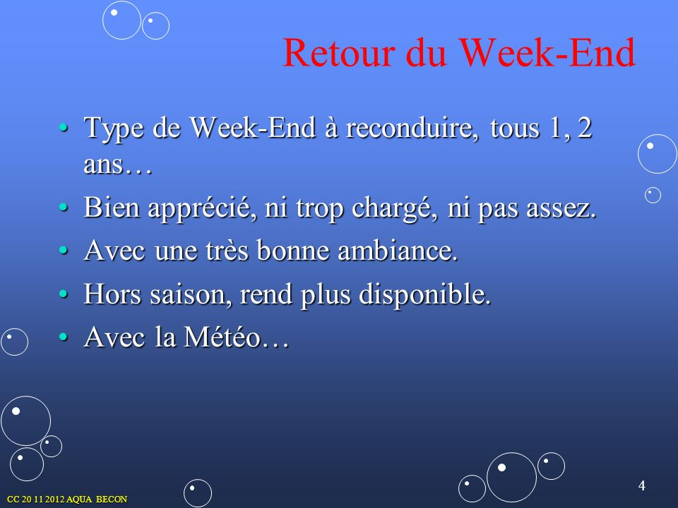 Retour du Week-End Type de Week-End à reconduire, tous 1, 2 ans…