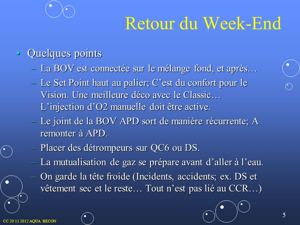 Retour du Week-End Quelques points