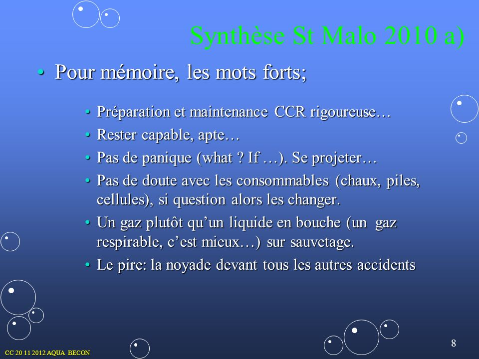 Synthèse St Malo 2010 a) Pour mémoire, les mots forts;