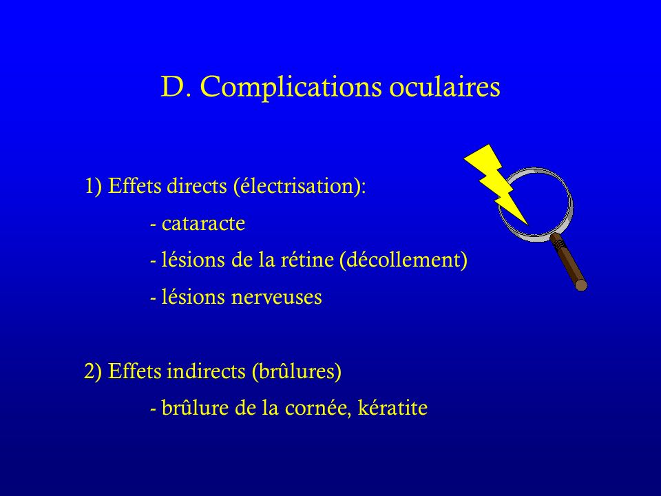 D. Complications oculaires