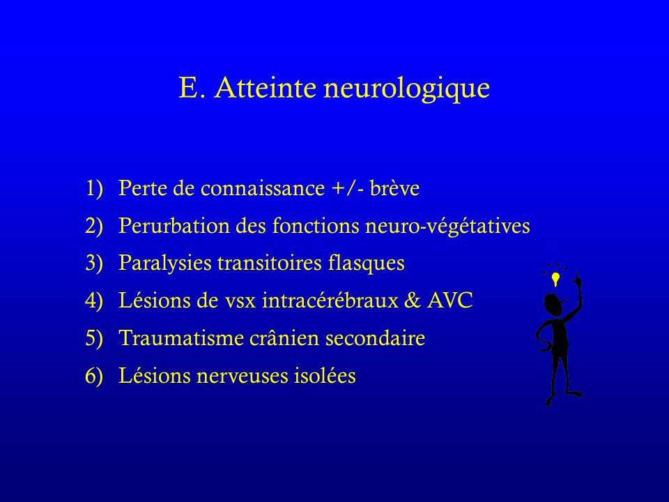 E. Atteinte neurologique