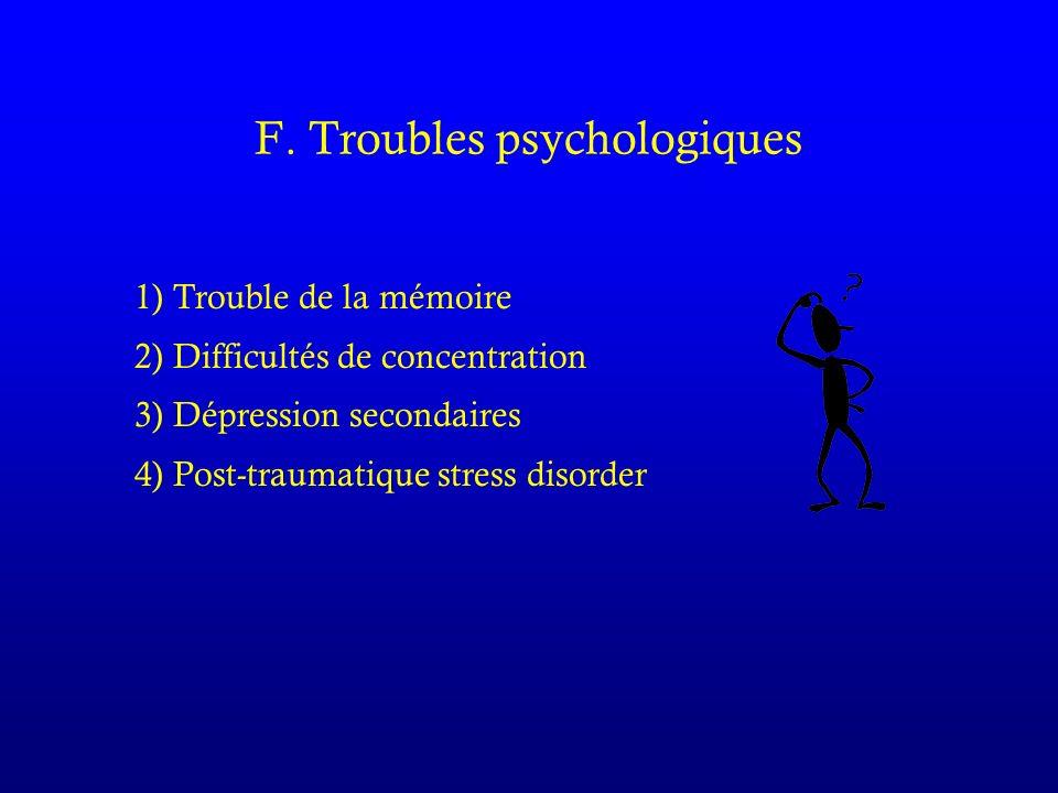 F. Troubles psychologiques