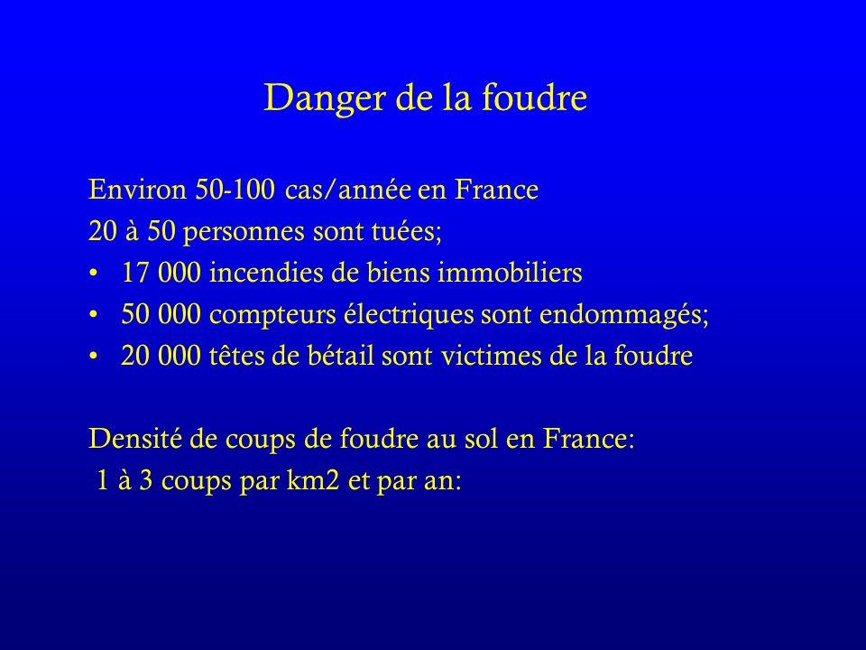 Danger de la foudre Environ 50-100 cas/année en France