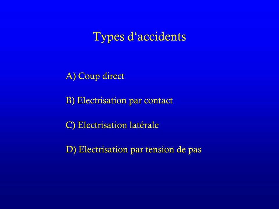 Types d'accidents A) Coup direct B) Electrisation par contact