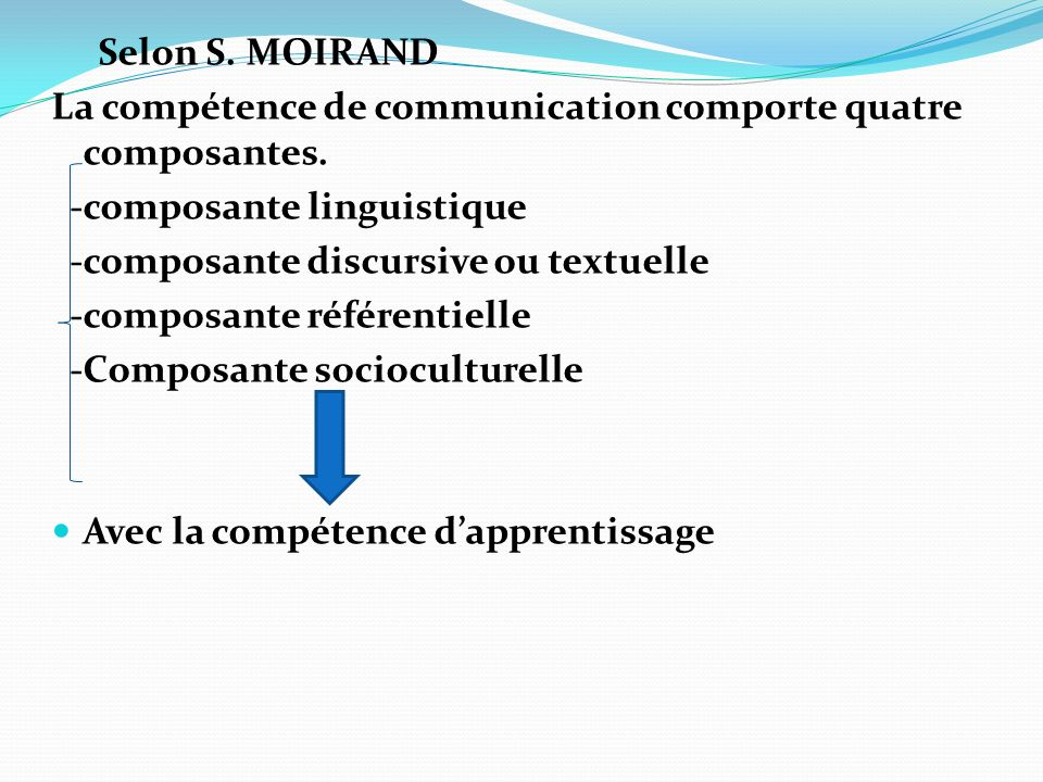 Selon S. MOIRAND La compétence de communication comporte quatre composantes. -composante linguistique.