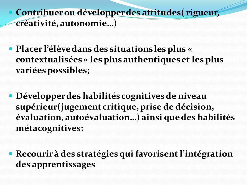Contribuer ou développer des attitudes( rigueur, créativité, autonomie…)