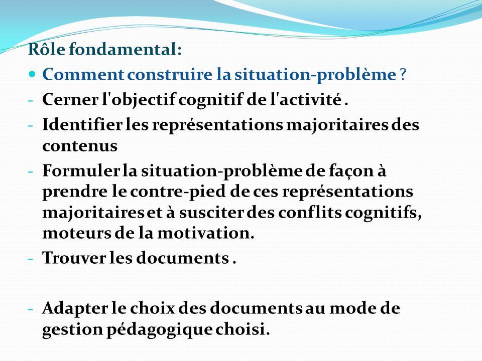 Rôle fondamental: Comment construire la situation-problème Cerner l objectif cognitif de l activité .