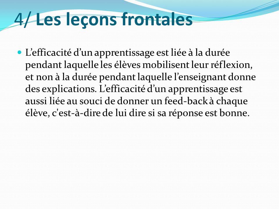 4/ Les leçons frontales