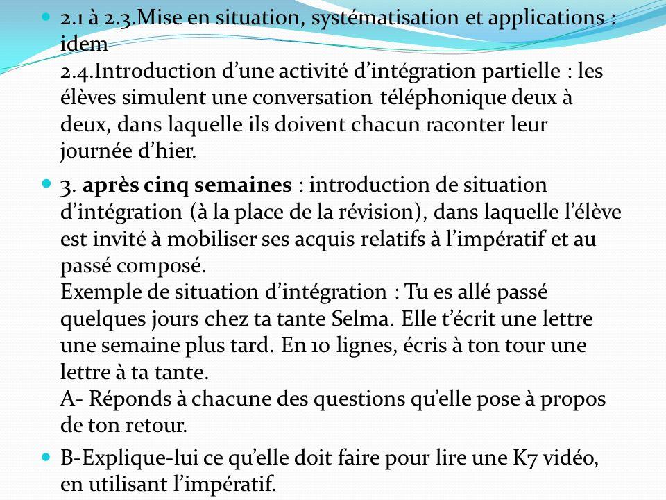 2.1 à 2.3.Mise en situation, systématisation et applications : idem 2.4.Introduction d'une activité d'intégration partielle : les élèves simulent une conversation téléphonique deux à deux, dans laquelle ils doivent chacun raconter leur journée d'hier.