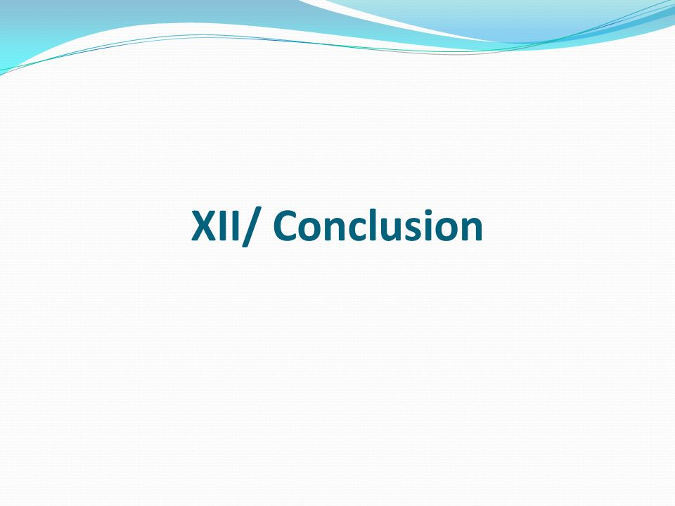 XII/ Conclusion