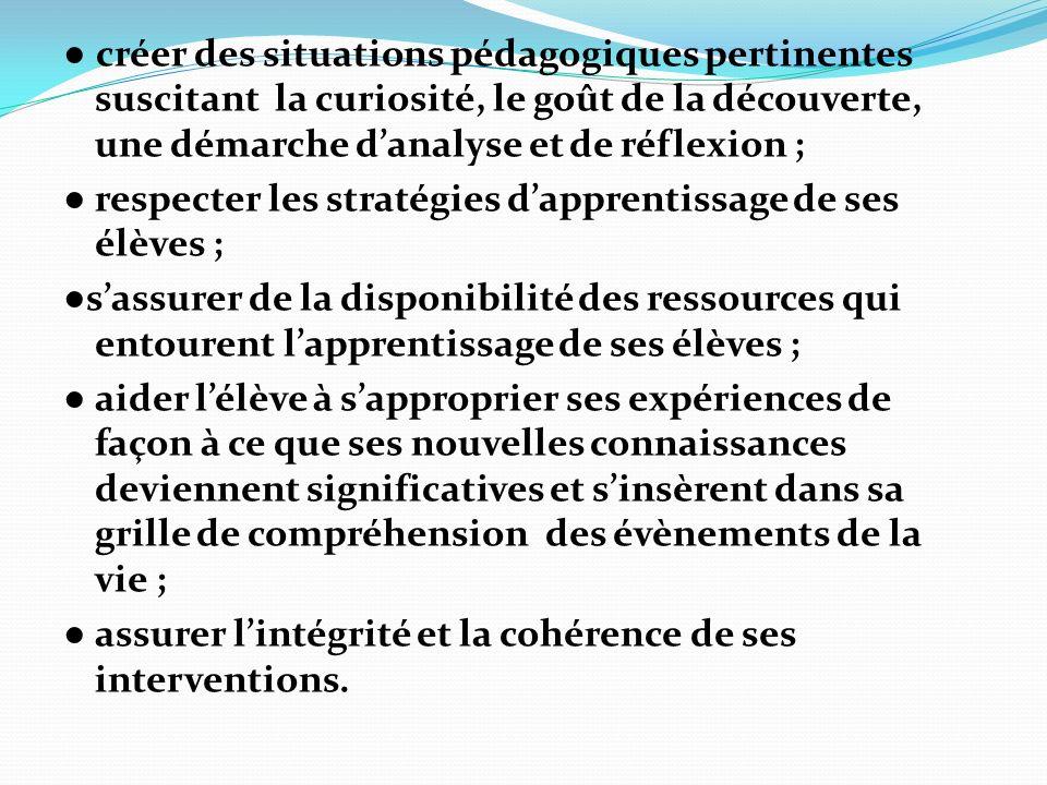 ● créer des situations pédagogiques pertinentes suscitant la curiosité, le goût de la découverte, une démarche d'analyse et de réflexion ;