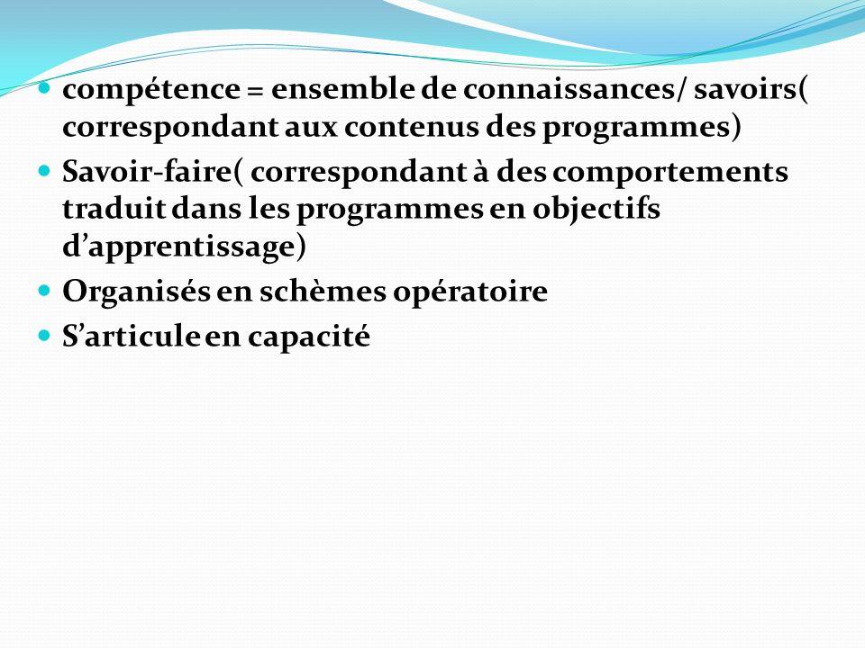 compétence = ensemble de connaissances/ savoirs( correspondant aux contenus des programmes)