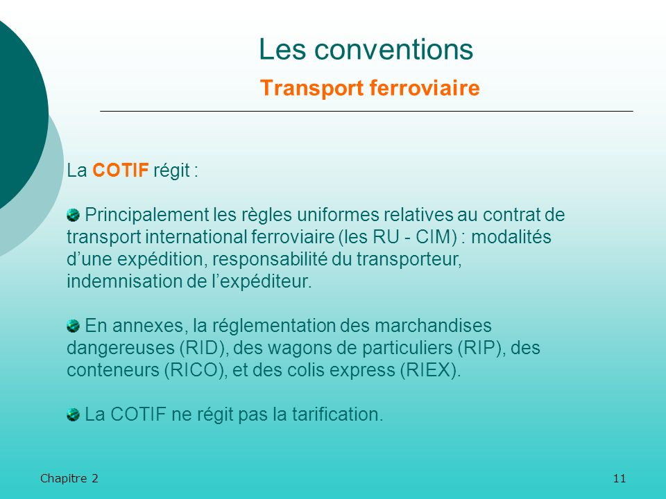 Les conventions Transport ferroviaire