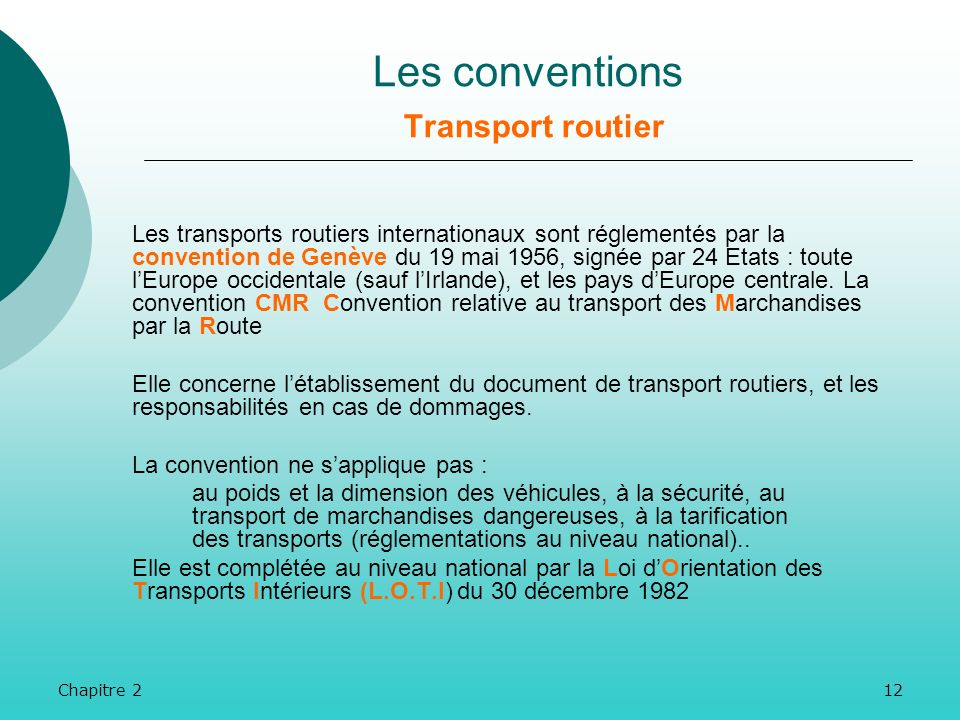 Les conventions Transport routier