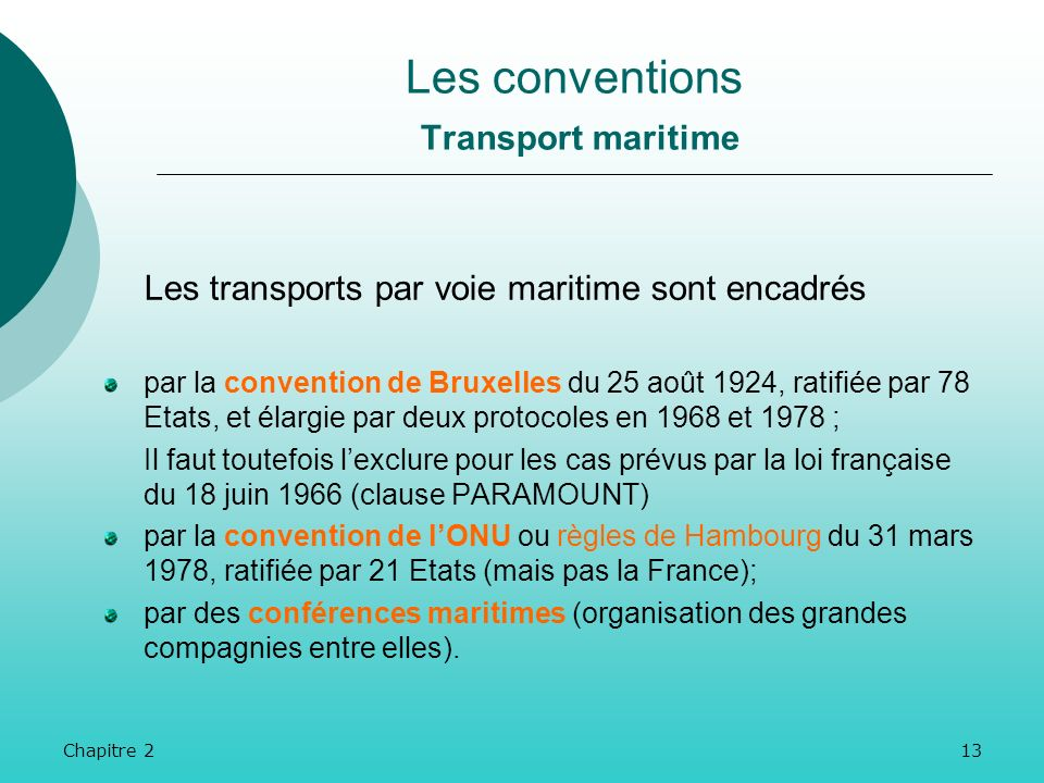 Les conventions Transport maritime