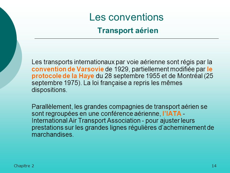 Les conventions Transport aérien