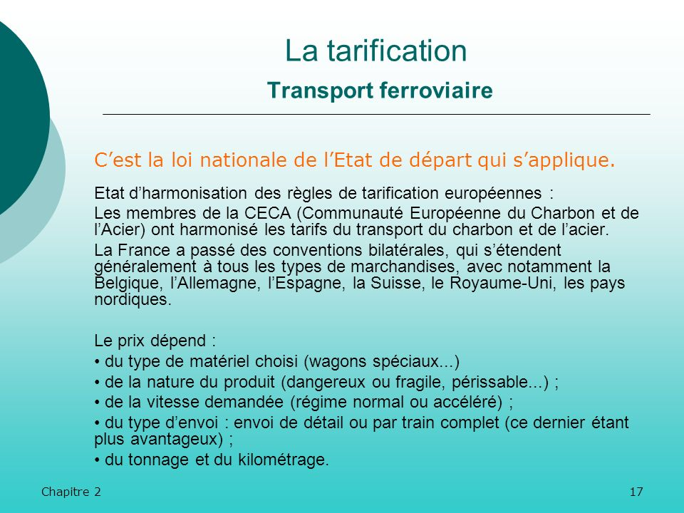 La tarification Transport ferroviaire