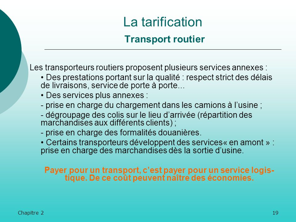 La tarification Transport routier