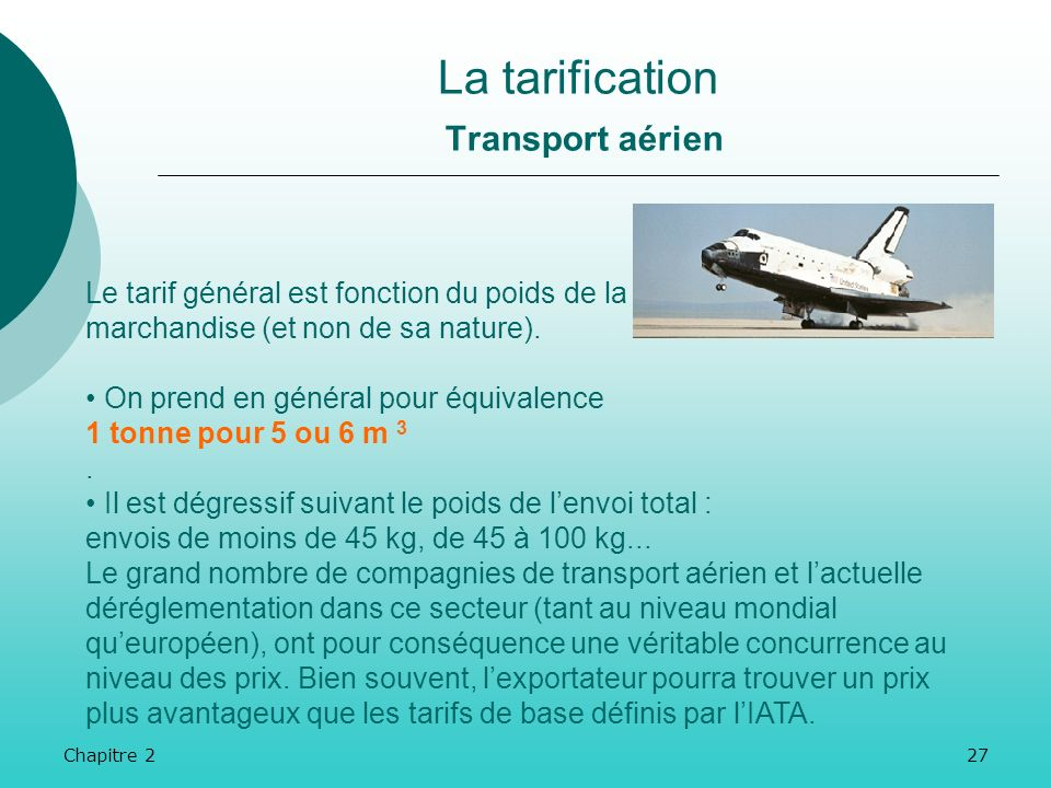 La tarification Transport aérien