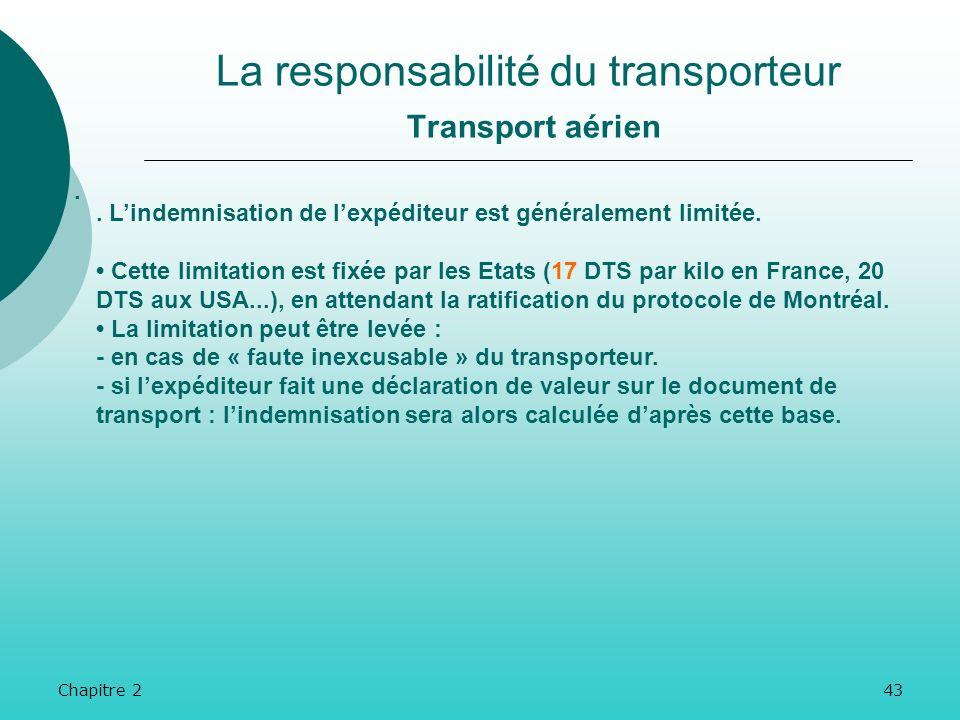 La responsabilité du transporteur Transport aérien