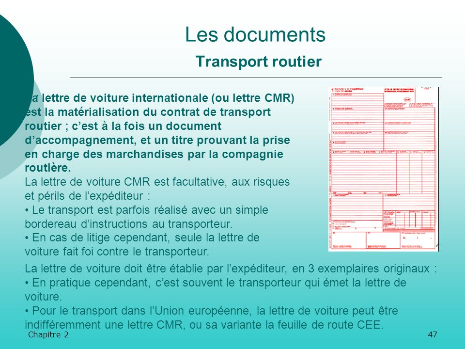 Les documents Transport routier