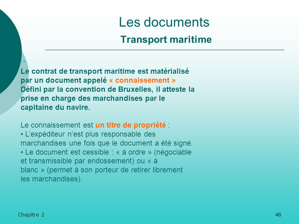 Les documents Transport maritime