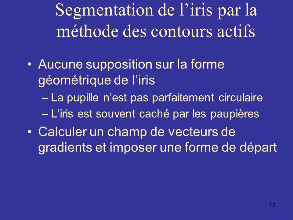 Segmentation de l'iris par la méthode des contours actifs