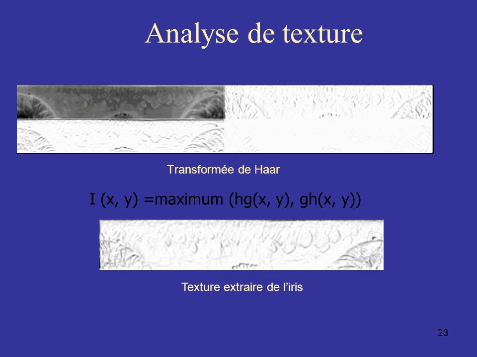 Analyse de texture I (x, y) =maximum (hg(x, y), gh(x, y))