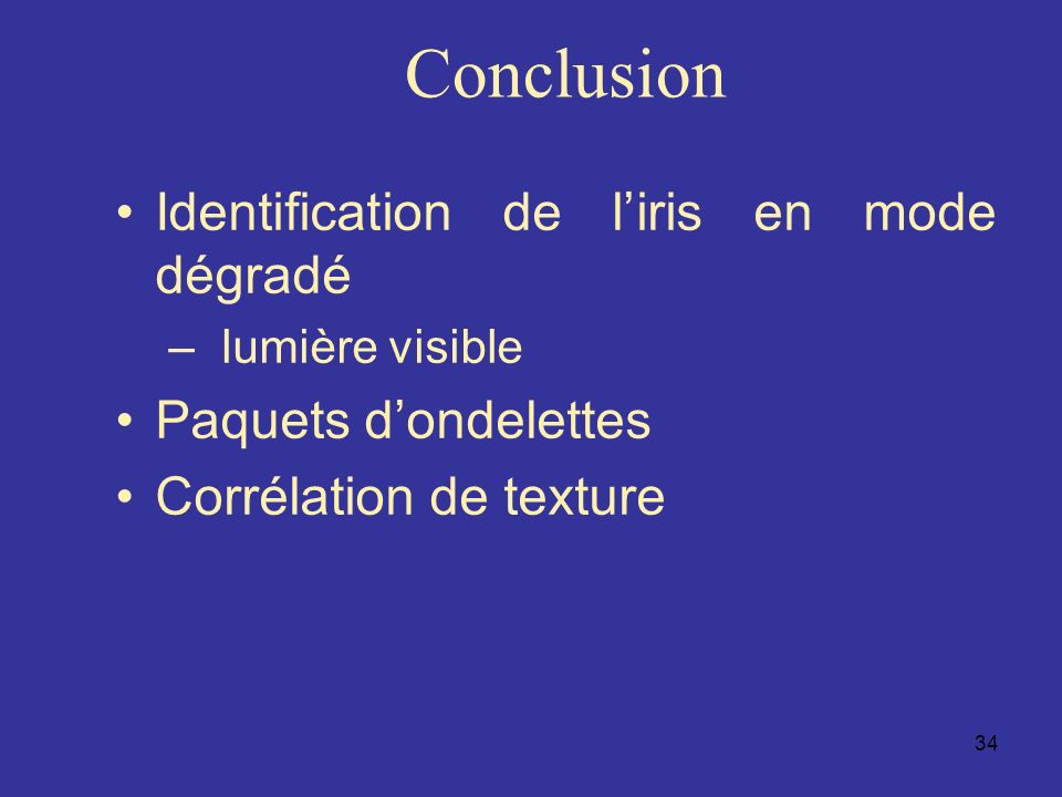 Conclusion Identification de l'iris en mode dégradé