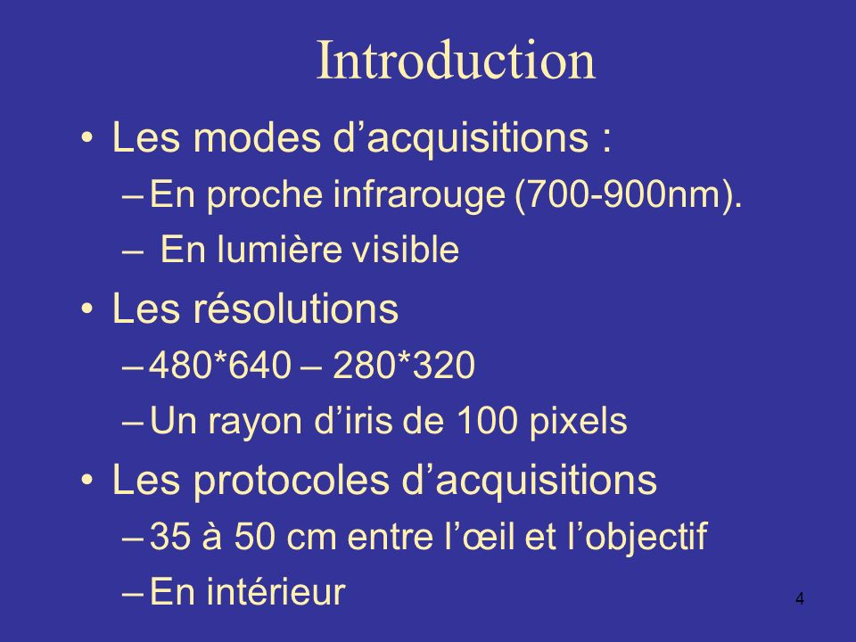 Introduction Les modes d'acquisitions : Les résolutions