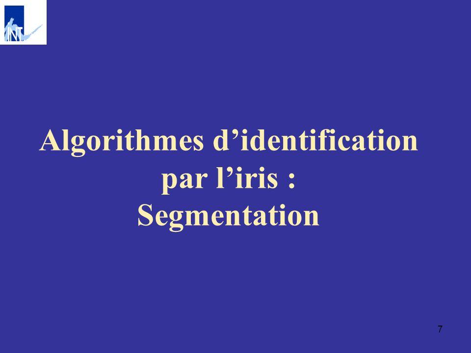 Algorithmes d'identification par l'iris : Segmentation