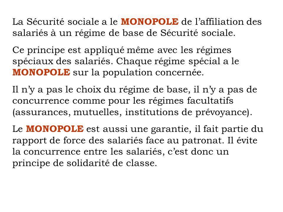 La Sécurité sociale a le MONOPOLE de l'affiliation des salariés à un régime de base de Sécurité sociale.