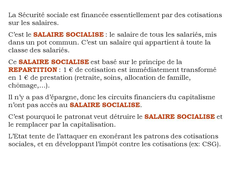 La Sécurité sociale est financée essentiellement par des cotisations sur les salaires.