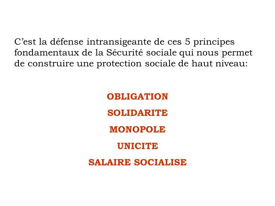 C'est la défense intransigeante de ces 5 principes fondamentaux de la Sécurité sociale qui nous permet de construire une protection sociale de haut niveau:
