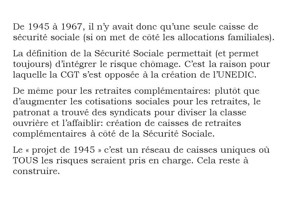 De 1945 à 1967, il n'y avait donc qu'une seule caisse de sécurité sociale (si on met de côté les allocations familiales).