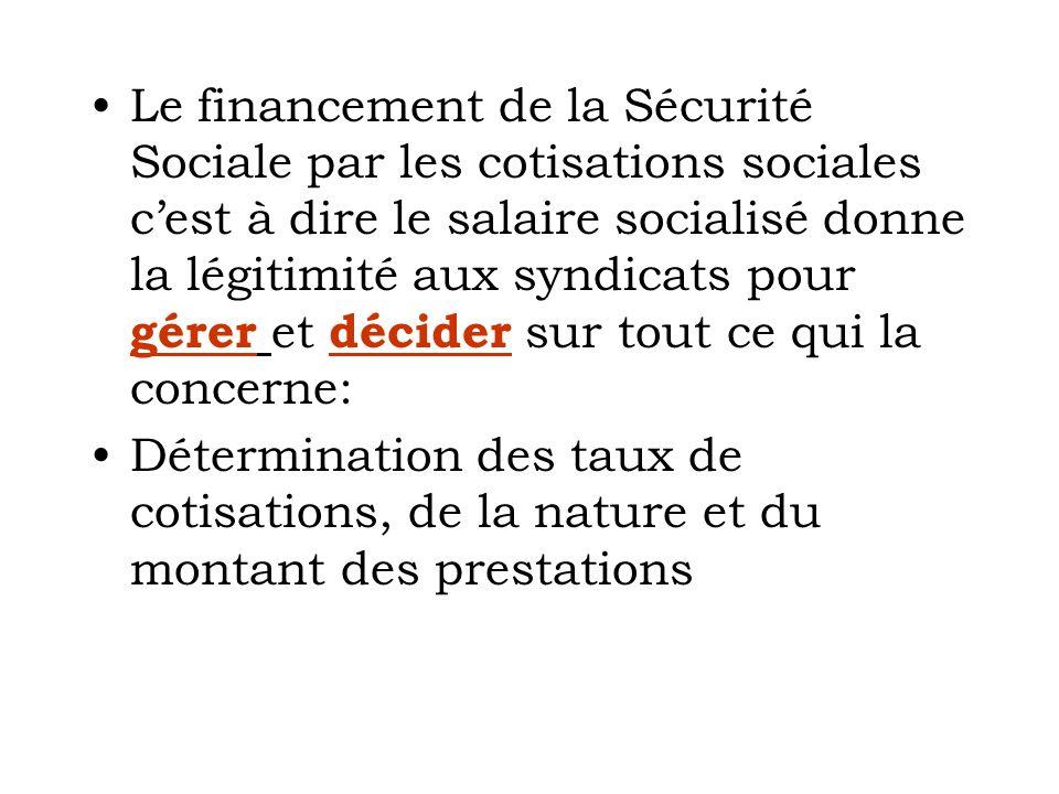 Le financement de la Sécurité Sociale par les cotisations sociales c'est à dire le salaire socialisé donne la légitimité aux syndicats pour gérer et décider sur tout ce qui la concerne: