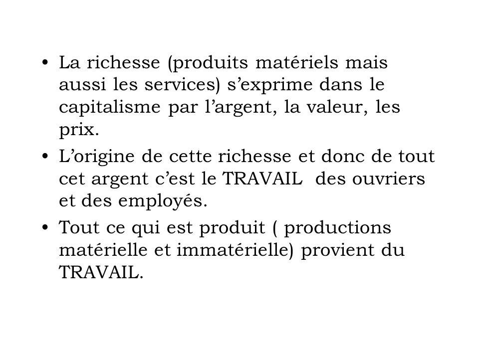 La richesse (produits matériels mais aussi les services) s'exprime dans le capitalisme par l'argent, la valeur, les prix.