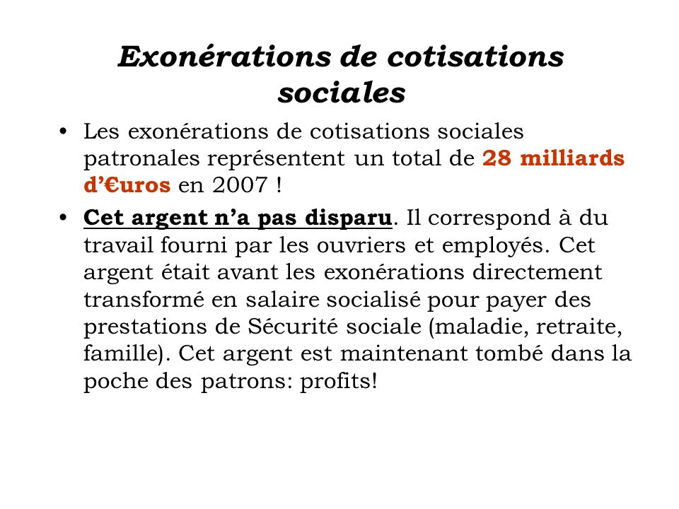 Exonérations de cotisations sociales